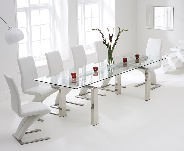Mark Harris Lunetto 200cm Glass Extending Dining Table with 6 Hereford Z White Chairs