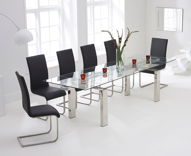 Mark Harris Lunetto 200cm Glass Extending Dining Table With 6 Malibu Black Ch