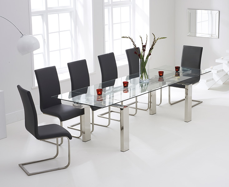 Mark Harris Lunetto 200cm Glass Extending Dining Set with 6 Malibu Grey Dining Chairs