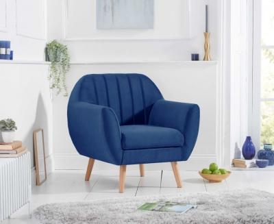 Mark Harris Luxor Blue Velvet Armchair