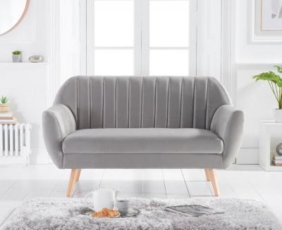Mark Harris Luxor Grey Velvet 2 Seater Sofa