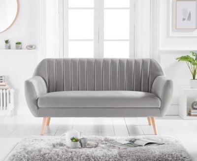 Mark Harris Luxor Grey Velvet 3 Seater Sofa