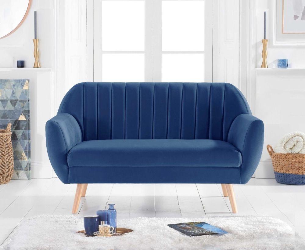 Mark Harris Luxor Blue Velvet 2 Seater Sofa