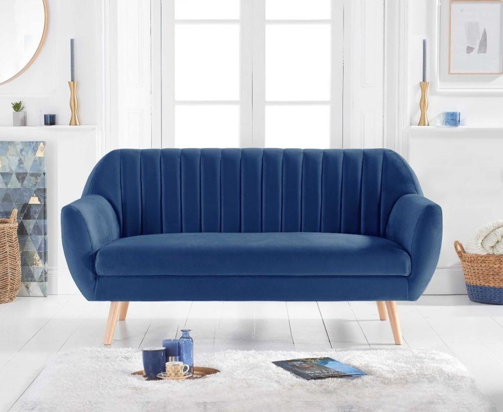 Mark Harris Luxor Blue Velvet 3 Seater Sofa