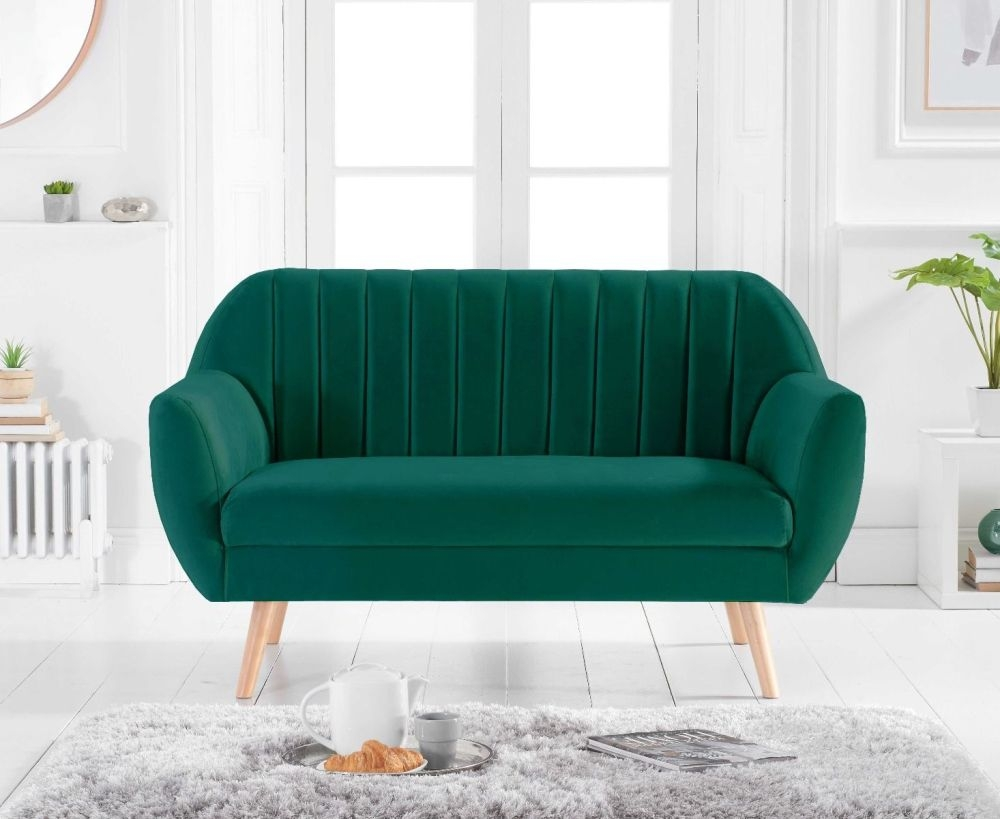 Mark Harris Luxor Green Velvet 2 Seater Sofa