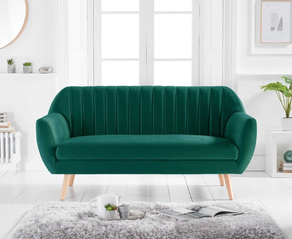 Mark Harris Luxor Green Velvet 3 Seater Sofa