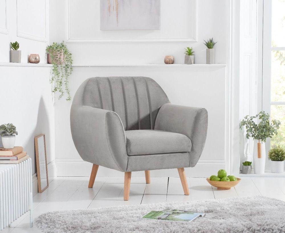 Mark Harris Luxor Grey Velvet Armchair