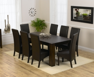 Mark Harris Madrid Solid Dark Oak 200cm Dining Table with 8 Dakota Brown Chairs
