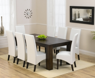 Mark Harris Madrid Solid Dark Oak 200cm Dining Table with 8 Dakota Ivory Chairs