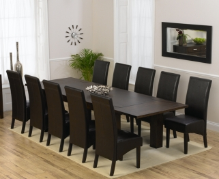 Mark Harris Madrid Solid Dark Oak 200cm Dining Table with 10 Dakota Brown Chairs