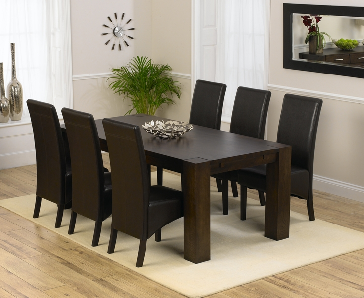 Mark Harris Madrid Solid Dark Oak 200cm Dining Table with 6 Dakota Brown Chairs