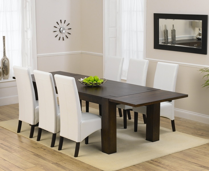 Mark Harris Madrid Solid Dark Oak 200cm Dining Table with 6 Dakota Ivory Chairs