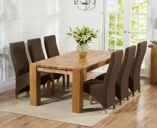 Mark Harris Madrid Solid Oak 200cm Dining Table with 6 Harley Cinnamon Brown Chairs