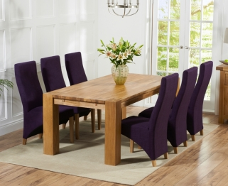 Mark Harris Madrid Solid Oak 200cm Dining Set with 6 Harley Plum Dining Chairs