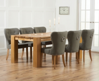 Mark Harris Madrid Solid Oak 200cm Dining Table with 6 Kalim Grey Chairs