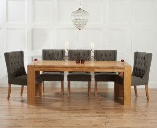 Mark Harris Madrid Solid Oak 200cm Dining Table with 6 Stefini Grey Chairs