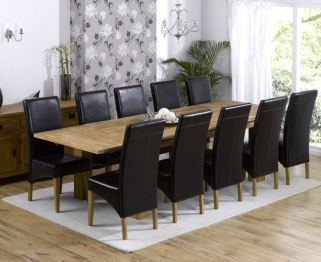 Mark Harris Madrid Solid Oak 200cm Extending Dining Table with 10 Venice Brown Chairs