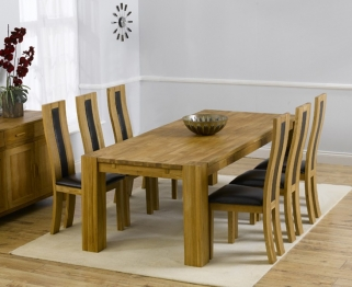 Mark Harris Madrid Solid Oak 200cm Extending Dining Table with 6 Havana Black Chairs
