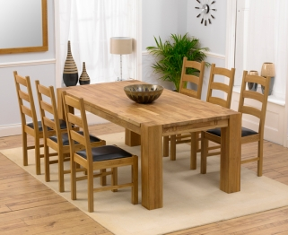 Mark Harris Madrid Solid Oak 200cm Extending Dining Table with 6 Valencia Brown Chairs