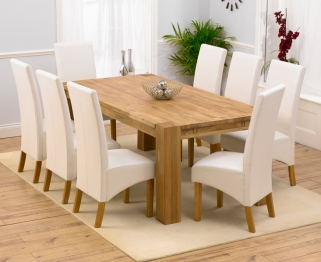 Mark Harris Madrid Solid Oak 200cm Extending Dining Set with 8 Venice Ivory Dining Chairs
