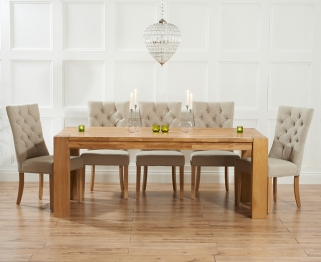 Mark Harris Madrid Solid Oak 240cm Dining Table with 6 Albury Beige Chairs