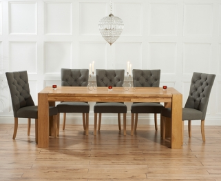 Mark Harris Madrid Solid Oak 240cm Dining Table with 6 Albury Grey Chairs
