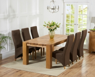 Mark Harris Madrid Solid Oak 240cm Dining Table with 6 Harley Cinnamon Brown Chairs