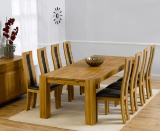 Mark Harris Madrid Solid Oak 240cm Extending Dining Table with 8 Havana Brown Chairs