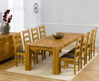 Mark Harris Madrid Solid Oak 240cm Extending Dining Table with 8 Valencia Brown Chairs
