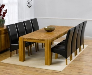 Mark Harris Madrid Solid Oak 240cm Extending Dining Table with 8 Venice Brown Chairs