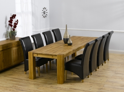 Mark Harris Madrid Solid Oak 300cm Dining Set with 8 Barcelona Brown Dining Chairs