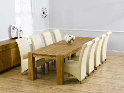 Mark Harris Madrid Solid Oak 300cm Dining Set with 8 Barcelona Cream Dining Chairs