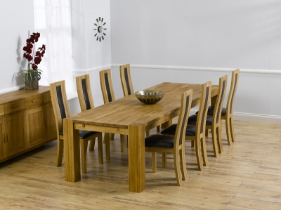 Mark Harris Madrid Solid Oak 300cm Dining Set with 8 Havana Brown Dining Chairs