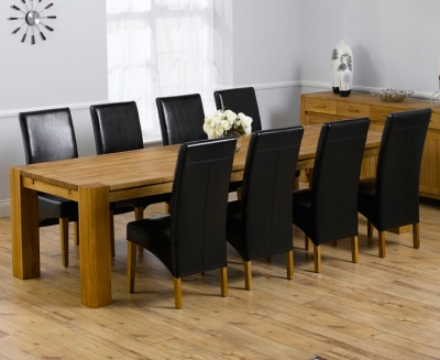 Mark Harris Madrid Solid Oak 300cm Dining Set with 8 Roma Brown Dining Chairs