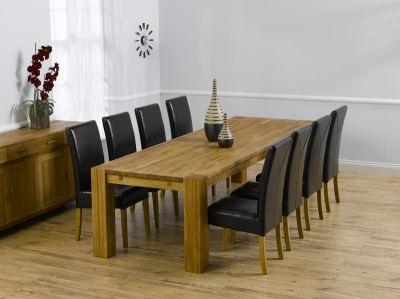 Mark Harris Madrid Solid Oak 300cm Dining Set with 8 Rustique Brown Dining Chairs