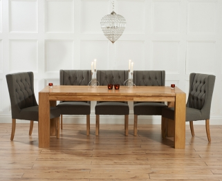 Mark Harris Madrid Solid Oak 300cm Dining Table with 6 Stefini Grey Chairs