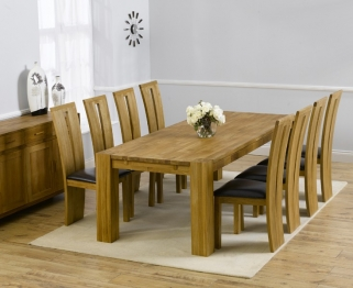 Mark Harris Madrid Solid Oak 300cm Dining Table with 8 Arizona Brown Chairs