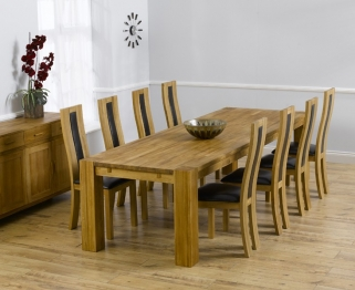 Mark Harris Madrid Solid Oak 300cm Dining Table with 8 Havana Black Chairs