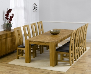 Mark Harris Madrid Solid Oak 300cm Dining Table with 8 John Louis Brown Chairs