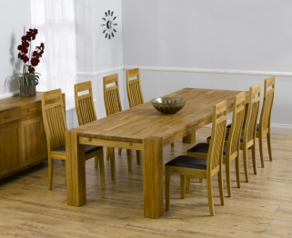 Mark Harris Madrid Solid Oak 300cm Dining Table with 8 Monte Carlo Brown Chairs