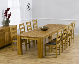 Mark Harris Madrid Solid Oak 300cm Dining Table with 8 Valencia Brown Chairs