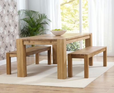 Mark Harris Madrid Solid Oak Dining Set - 200cm Extending with 2 Barcelona Benches