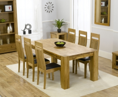 Mark Harris Madrid Oak Extending Dining Table and 4 Monte Carlo Black Chairs