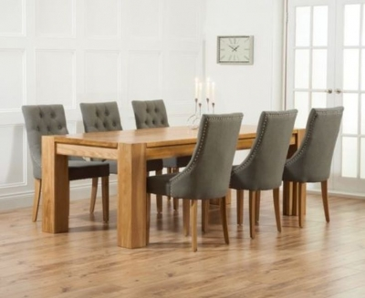 Mark Harris Madrid Oak Extending Dining Table and 4 Pailin Grey Chairs