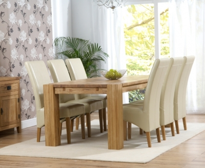 Mark Harris Madrid Oak Extending Dining Table and 4 Roma Cream Chairs