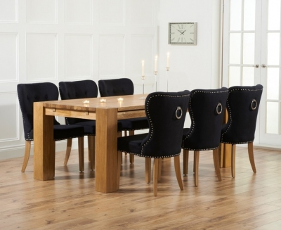 Mark Harris Madrid Oak Large Extending Dining Table and 4 Kalim Black Chairs