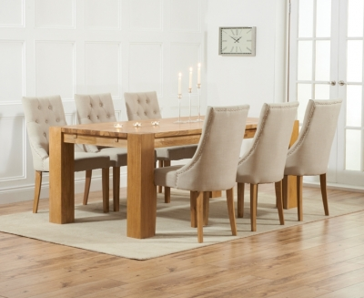 Mark Harris Madrid Oak Large Extending Dining Table and 4 Pailin Beige Chairs