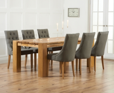 Mark Harris Madrid Oak Large Extending Dining Table and 4 Pailin Grey Chairs