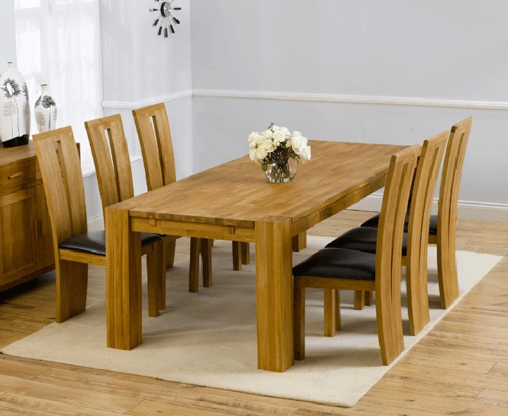 Mark Harris Madrid Solid Oak 200cm Dining Set with 6 Arizona Black Dining Chairs