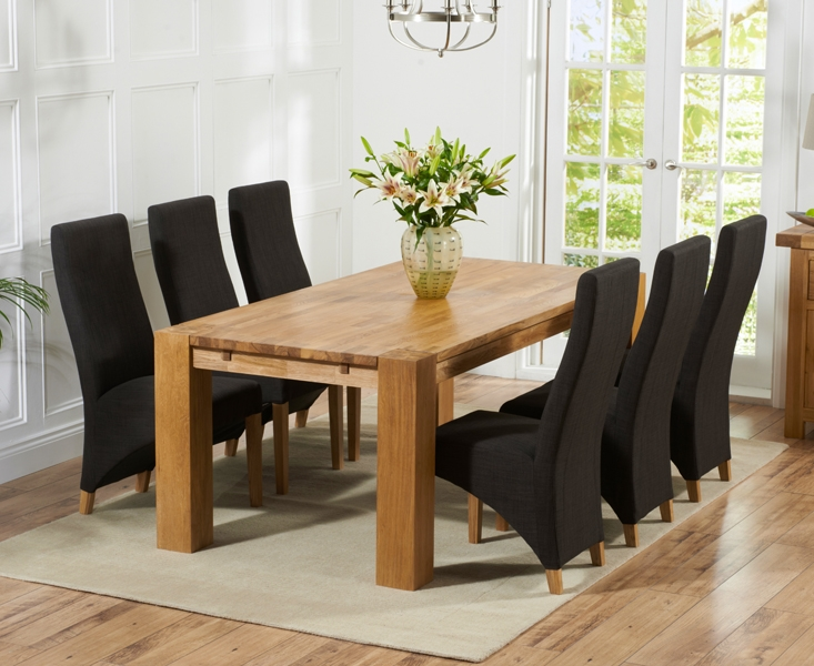 Mark Harris Madrid Solid Oak 200cm Dining Table with 6 Harley Charcoal Chairs